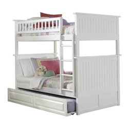 Atlantic Furniture - Nantucket Bunk Bed Twin Over Twin / Raised Panel Trundle / White - Features:
