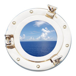 Handcrafted Nautical Decor - Deluxe Class Brass Porthole Window 8'' - This Deluxe Class Brass  Porthole Window 8''   adds sophistication, style, and charm for those     looking to   enhance       rooms with a nautical theme. This boat    porthole  has a   sturdy,  heavy and      authentic appearance, and is    made of brass  and  glass which can easily be hung to grace any  nautical   theme wall. Our nautical   porthole window     makes  a fabulous style   statement in any room  with    its classic  round      frame, six   metal-like rivets and two  dog  ears.   This marine  porthole mirror       has an 5'diameter and 2'deep when dog-ears are  attached, 1.5'' deep   without dog ears   attached.----Dimensions: 8'Long x 2'Wide x 8'High--NOTE: This is a decorative porthole window (the center is clear glass which can be left in port hole or taken out). Mounting hardware not included with purchase.----    Functional porthole window that will open and close by loosening dog ears--    --    Handcrafted from solid brass by our master artisans--    Decorative yet fully functional port hole window decoration--    Realistic nautical decor - modeled after an antique 19th-century ship's porthole--    --    Great porthole wall decor and an instant conversation piece--
