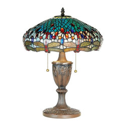 "Lamps Plus - Tiffany Dragonfly Tiffany Style Table Lamp - A brilliant shimmering design this table lamp beautifully expresses the Tiffany style. Finely detailed it features a metal base and a multi-colored Tiffany style glass shade. Twin on/off light pulls balance the design. Uses two 60 watt bulbs (not included). 19 1/2"" high. 15"" diameter shade.  One of our best-selling Tiffany-style lamps.   Bronze finish.  Uses two 60 watt bulbs (not included).  19 1/2"" high.  15"" diameter shade."