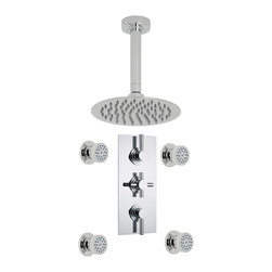 """Hudson Reed - Tec Style Rain Shower System With 4 Spa Jets & 8"""" Round Ceiling Head in Chrome - Enjoy a luxurious showering experience with the Tec shower system from Hudson Reed, which comes complete with the 8"""" fixed shower head with arm, four body jets and the triple thermostatic shower valve. With easy to clean nozzles, the body jets provide a relaxing massage effect, while the fixed head delivers a refreshing shower. Made in Great Britain, the solid brass shower valve incorporates an anti-scald device for total peace of mind, while the ceramic disc technology ensures smooth control over the flow and temperature of the water."""