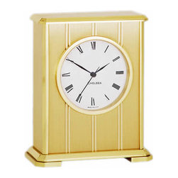 "Chelsea Embassy Clock in Brass - Forged solid brass case, hinged back door. 3"" Dial, quartz movement. Two year warranty. 41/2"" W,5 3/4"" H, 21/2"" D. Our price includes engraving, flannel gift pouch  gift card."