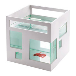 Fish Apartment - Award-winning contemporary design is now available to your pet with this angular fish tank, perfect for small spaces like bookshelves and desks. The fish tank can also be customized: the white outer shell can be painted to suit your home or office. You can also stack them up to build a neighborhood of fish apartments.
