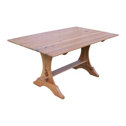 Fable Porch Furniture - Crescent Trestle Dining Table - Whether you're sitting down to eat, answering email or even paying bills, this classic dining table is a serene and calming setting. The distressed golden stain lets the natural beauty of wood shine through.