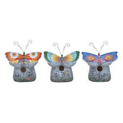 Benzara - Birdhouse Crafted with Fine Attention To Detail - Set of 3 - If you are looking for unique accessories for your outdoor setting, this Birdhouse 3 assorted set is a perfect choice. Featuring a chic, modern design, these bird houses are ideal for adding an attractive touch to outdoor decor. An ideal choice for giving outdoors a lively appeal, these birdhouses are great for those who love birds and nature. The birdhouses are designed with fine attention to detail, and sport butterfly shapes, which give them an appealing look. They have a sturdy polystone make to ensure long lasting use and can be hung anywhere. The decorative pieces are designed with skilled workmanship and flaunt vibrant colors. You can place them outdoor to enhance the appeal of your house garden. It will also reflect that your love and care for nature and birds. This will easily win you attention and admiration from your neighbors. It is an ideal choice of gift for your nature lover colleague. H.