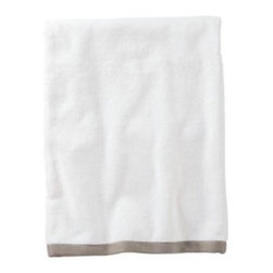 Serena & Lily - Bark Border Frame Bath Towel - Woven in Portugal from supremely soft cotton, these towels are lofty, absorbent, quick to dry, and won &apos t fade, fray or wear out. We love how the substantial stripe pops against the pure white cotton terry. (The washcloth was kept simple a perfect square of all white.)