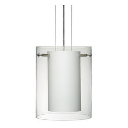 Besa Lighting - Besa Lighting 1KG-C00607-NI Pahu 1 Light Cable-Hung Pendant with Clear Glass Sha - The Pahu is a distinctive double-glass pendant, with an inner opal cylinder centered within a transparent outer glass The clear blown glass is contemporary yet timeless, and will suit any classic or modern decor. When lit, the clear glass shimmers and sparkles with the accents from the light source. This blown glass combination is handcrafted by a skilled artisan, utilizing century-old techniques passed down from generation to generation. The cable pendant fixture is equipped with three (3) 10' silver aircraft cables and 10' AWM cordset, and a low profile flat monopoint canopy.Features: