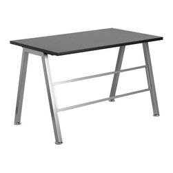 Flash Furniture - Flash Furniture High Profile Desk - The High Profile Desk will make your office space look like you've spent twice as much with its modern appeal! The sturdy leg design and decorative and stabilizing cross bar adds to the appeal of this desk.