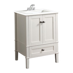 "Simpli Home - Chelsea White 24"" Bath Vanity with White Quartz Marble Top - The Simpli Home 24"" Chelsea Vanity Collection is defined by its soft white lacquer finish, brushed nickel rounded square knobs and casual contemporary look.  The collection comes with 105 degree hidden hinges and ball bearing easy glide drawer slides. This beautiful assembled vanity provides large storage area with 2 doors & 1 bottom drawer."
