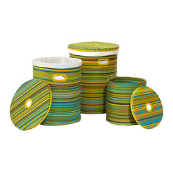 Fab Habitat - Cancun Baskets, Lemon & Apple Green - You can never have enough baskets, and there's always room for a set of three baskets like these, handmade from recycled plastic. Washable cotton liners are included, so you can use them right away. Handles make them easy for you to carry from room to room. Colors may vary slightly.