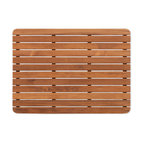 Teakworks4u - Plantation Teak Mat with rounded corners - Naturally mold and mildew proof due to its high oil content, this bath mat will serve you in style for years to come. The inherent beauty of teak is sure to complement your bathroom accessories and create a perfect decorative accent. Naturally high silica content makes this piece incredibly slip resistant. Crafted with quality wood, countersunk screws and rubber footing to protect your floors, this teak mat is nothing short of an investment. Proudly made in the U.S.A.  Custom sizes available by contacting Teakworks4u.