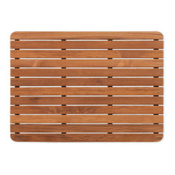 "Teakworks4u - Plantation Teak Mat with rounded corners (25"" x 18"") - Naturally mold and mildew proof due to its high oil content, this bath mat will serve you in style for years to come. The inherent beauty of teak is sure to complement your bathroom accessories and create a perfect decorative accent. Naturally high silica content makes this piece incredibly slip resistant. Crafted with quality wood, countersunk screws and rubber footing to protect your floors, this teak mat is nothing short of an investment. Proudly made in the U.S.A.  Custom sizes available by contacting Teakworks4u."