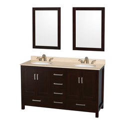 """Wyndham Collection - Sheffield 60"""" Espresso Double Vanity w/ Ivory Marble Top & Undermount Oval Sink - Distinctive styling and elegant lines come together to form a complete range of modern classics in the Sheffield Bathroom Vanity collection. Inspired by well established American standards and crafted without compromise, these vanities are designed to complement any decor, from traditional to minimalist modern. Available in multiple sizes and finishes."""