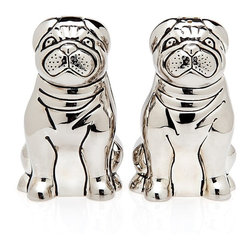Pug Silver Plated Salt and Pepper Shaker - Not at all pugnacious, these salt and pepper shakers will have your guest howling from amusement!