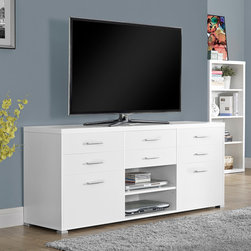 Monarch Specialties - Monarch Specialties White Hollow-Core 60 Inch TV Console With 8 Drawers - Complete your home decor with the simple contemporary elegance of this white TV console. Featuring 8 spacious storage drawers for your entertainment accessories and 2 open storage shelves for your electronic components, this piece is the perfect blend of fashion and functionality. Chrome metal accents complete the modern look and make this console a must have in any home.