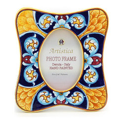 Artistica - Hand Made in Italy - Photo Frame: Deruta Vario Celeste - Deruta Photo Frames: