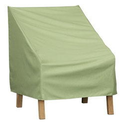 Lounge Chair Outdoor Furniture Cover - Save space and strain by covering your outdoor furniture in the off-season or to keep your furniture clean and dry all year round. Neutral sage green polyester cover with reinforced edges and water-resistant PVC backing has fabric tab fasteners to protect a lounge chair including cushions from the elements.
