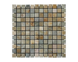 "Golden White Tumbled Quartzite Mosaic Tiles - Golden White Tumbled Quartzite Mosaic Tiles on 12"" x 12"" meshed sheets is strictly selected; consistent in color, sizing and finish. Suitable for commercial and residential projects. Interior as well as exterior surface covering applications. Meets your needs at a very low cost. The edges of these mosaic tiles are rounded and the surface is antiqued."