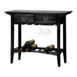 Leick Furniture - Leick Furniture Mission Wine Stand with Storage Drawers in Black - Leick Furniture - Wine Racks - 9061SL - A compact wine table that packs a lot of function with a classic mission style. A quality piece of furniture with a solid wood table top and frame, and a hand applied multi-step slate black finish that enhances the beautiful wood grain. There is a place for everything, solid wood drawers for wine opener and accessories, hanging rails for glasses, and a slated wine shelf to store your wine. A wine table that fits anywhere and does everything, what more can you ask for?