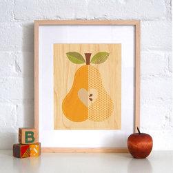 Petit Collage Pear - Print on Wood - Pear - Print on Wood