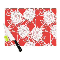 """Kess InHouse - Gill Eggleston """"Protea Strawberry White"""" Red Flowers Cutting Board (11.5"""" x 15.7 - These sturdy tempered glass cutting boards will make everything you chop look like a Dutch painting. Perfect the art of cooking with your KESS InHouse unique art cutting board. Go for patterns or painted, either way this non-skid, dishwasher safe cutting board is perfect for preparing any artistic dinner or serving. Cut, chop, serve or frame, all of these unique cutting boards are gorgeous."""