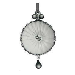 Glass Disk Ornament - Beautiful mouth blown glass ornament with crystal drop.