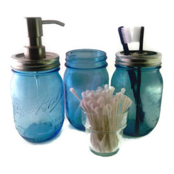 Blue Mason Jar Bath Set Ball Jar Bath Set Mason Jar Foaming Soap Dispenser Mason - This Ball Jar bath set will add rustic charm to any bathroom. It is handmade from three new repurposed Special Limited Edition American Heritage Collection Vintage Colored Commemorative Embossed Pint Jars. The canning jars alone stand approximately 5 1/2 inches tall and the one with the soap dispenser pump it is approximately 7 1/2 inches.