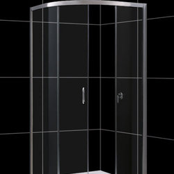 """DreamLine - DreamLine Solo 36 3/8"""" by 36 3/8"""" Frameless Sliding Shower Enclosure - The Solo shower enclosure opens up the look of a smaller bathroom with a fresh modern style. Graceful lines accentuate the quarter round enclosure with beautifully curved tempered glass. The innovative design is a smart solution where space is limited. The sliding door creates a comfortable opening without claiming the space required for a swing door. Combine this enclosure with a DreamLine acrylic shower base and backwalls system for a streamlined installation. 36 3/8 in. D x 36 3/8 in. W x 72 in. H ,  1/4 (6 mm) clear tempered glass,  Chrome hardware finish,  Frameless glass design,  Out-of-plumb installation adjustability: Up to 3/4 in. per side,  Anodized aluminum profiles and guide rails,  Designed to be installed against finished walls (not directly to studs),  Door opening: 17 3/4 in.,  Two stationary panels: 24 in. and 15 1/2 in.,  Reversible for right or left door opening installation,  Material: Tempered Glass, Aluminum,  Optional SlimLine shower base and shower backwalls available ,  Tempered glass ANSI certifiedProduct Warranty:,  Limited 5 (five) year manufacturer warranty"""