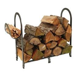 "Enclume - Premier Arch Log Basket Hammered Steel - Dimensions:  20""L x 13""W x 22""H"