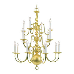 Livex Lighting - Livex Lighting 5016-02 Williamsburg 16-Light Chandelier in Polished Brass - This 16 light Chandelier from the Williamsburg collection by Livex will enhance your home with a perfect mix of form and function.