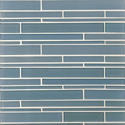 Stilato Glass Mosaic Tile - I love the random pattern of this long and linear glass mosaic tile, and it's available in different colors and mixes as well. Looks great horizontal but I've also seen it used vertically in both kitchens and bathrooms.