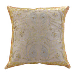 """Banarsi Designs - Ornamental Embroidered Pillow Cover, Set of 2, Silver - The """"Ornamental Embroidered Pillow Cover"""" represents artistic qualities through a very detailed and imaginative Indian embroidered and hand-stitched process known as Cut Dana."""