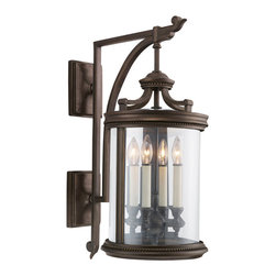 Fine Art Lamps - Louvre Outdoor Wall Mount, 538481ST - What could be more welcoming than seeing this elegant lantern perched beside your front door or walkway? The warm bronze finish is complemented by a clear, handblown glass enclosure and a quartet of antiqued candles, for powerful illumination that's also powerfully appealing.