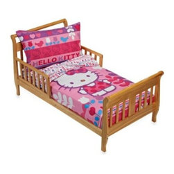 Hello Kitty - Hello Kitty Modern Garden 4-Piece Bedding Set - Any Hello Kitty fan will love this bright, colorful bedding set with its vibrant colors and bold graphic print. It is sure to put a smile on your little girl's face and add fun to her bedroom.
