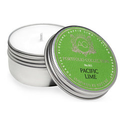 Pacific Lime Travel Candle - An international mix of citrus notes makes the aroma of the Pacific Lime Travel Candle a sophisticated unisex symphony, great for the bath or the kitchen but at home everywhere � even on your desk in your workplace. Enclosed in a silver tin, the soy wax is suffused with a convincing kaffir lime scent, its tartness mellowed by bergamot and flowers.