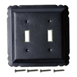 Renovators Supply - Switchplates Black Steel Double Toggle Switch Plate - Switchplate. These outstanding switchplates are crafted of steel and resemble wrought iron. Our exclusive RSF coating protects this product for years to come and gives the switchplate added wrought iron texture. A fabulous detail for a modern sleek look or for that Old Colonial charm. Mounting hardware included.