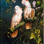 The Tile Mural Store (USA) - Tile Mural - Salmon Crested Cockatoos - Kitchen Backsplash Ideas - This beautiful artwork by Michael Jackson has been digitally reproduced for tiles and depicts two Cockatoo's perched on a branch.  Images of rainforest birds on tiles make an excellent kitchen backsplash idea. Macaw tiles and tiles with exotic birds as well as tropical birds on tiles make a great addition to your kitchen backsplash wall tile project. Bring the outdoors in with a beautiful tile mural of macaws or cockatoos. You can use a tile mural of tropical birds in the bathroom too for your shower tile project. Consider a tile mural colorful birds for any room in your home where you want to add interest to a plain tile wall area.