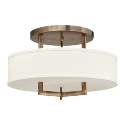 Hinkley Lighting - Hampton Medium Flush Mount - The Hampton Collection features off-white linen hard-back shades and decorative etched acrylic bottom lenses. 11.75 in. diameter canopy. Antique Nickel finish.