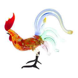 Spirit Pieces - Lampwork Multi-tailed Rooster Glass Miniature - Murano Art Style Glass Rooster - This lovely multi-tailed handcrafted lampwork rooster is the perfect item to add sparkle and beauty to any mantle, desk or window-sill.  Handcrafted by master craftsmen, this heirloom in waiting is the perfect decoration for any age group.