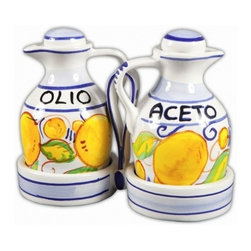 Ceramic - Italian Limoncello Oil and Vinegar Cruets with Caddy - Italian Limoncello Oil and Vinegar Cruets with Caddy
