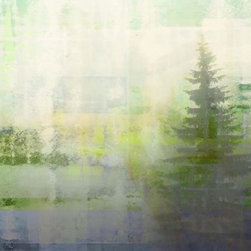 "Parvez Taj - Wall Prints - Meaford Bay - Canvas, 30""x40"" - Give your room an instant waterfront view. This unique, Parvez Taj print of bay waters and evergreen trees is created using photographs, software and special UV-cured inks for an ethereal and otherworldly effect."