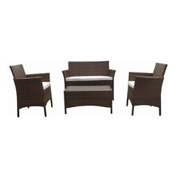 Panama Jack - Panama Jack 4-piece St Barths Settee Set - Escape to your very own Caribbean paradise with The St Barths collection by Panama Jack. The four-piece Settee Set incorporates an extruded aluminum frame with an exclusive thick woven wicker fiber from Viro making it strong and durable.