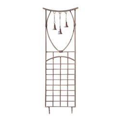 H Potter - Steeple Bells Trellis - Now you can admire the sights — and sounds — of your garden. A trio of dangling bells graces this eye- and ear-catching trellis, which further accentuates your relaxing outdoor space.