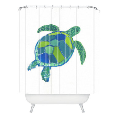 DENY Designs - Laura Trevey Sea Turtle Shower Curtain - Who says bathrooms can't be fun? To get the most bang for your buck, start with an artistic, inventive shower curtain. We've got endless options that will really make your bathroom pop. Heck, your guests may start spending a little extra time in there because of it!
