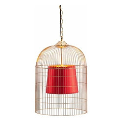 Zuo Lighting - Zuo Sprite Ceiling Lamp, Small Gold & Red - Our Sprite Small Ceiling Lamp makes simple look trendy with its unit shade. This interesting piece hangs from a wire. Add this striking piece to the kitchen, dinette, foyer or dining room for a warm ambiance.