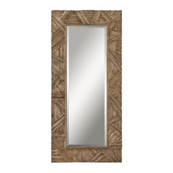 Uttermost - Tehama Rustic Wood Leaner Mirror, Beveled 41x89 - This  beautiful  oversized  mirror  is  great  for  creating  drama  in  a  space.    The  height  of  nearly  four  feet  makes  it  functional  as  well  as  beautiful.    A  wide,  pieced  wood  frame  with  cris-crossed  designs  of  wood  strips  finished  in  an  antiqued  light  walnut  stain.  Hang  horizontally  or  vertically,  or  stand  it  against  the  wall  as  a  leaner  mirror.  Extra  large  height  and  width  make  it  an  imposing  mirror,  perfect  for  any  rustic  or  urban  rustic  setting.  1-1/4  inch  beveled  edge  around  the  outside  of  the  mirror  glass.