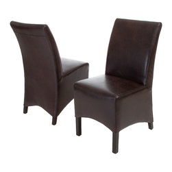Great Deal Furniture - Avery Brown Leather Dining Chairs, Set of 2 - The Avery Dining Chair is one of the more comfortable dinning chairs you'll find. Well padded back and seat make for a great sitting experience both around the dining table, and as extra seating when needed.