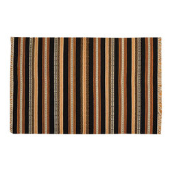 1800-Get-A-Rug - Striped Durie Kilim Hand Woven Flat Weave 100% Wool Oriental Rug Sh15704 - The Flat Weave hand woven rug is a type of hand-knotted area rug created by weaving wool onto a foundation of cotton warps on a loom. The Flat Weave rug offers the same beauty and durability as the classical thick-pile Oriental rugs, but without the telltale thick pile often spotted in other rugs. This gives the Flat weave a thin and flat appearance which resembles the Needlepoint, making them wonderfully ideal choices as accent rugs, wall hangings, or to drape over furniture and staircases.