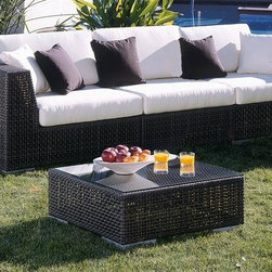 Hospitality Rattan - Soho Sofa 3 Pc. Deep Seating Set in Rehau Java Brown w Cushions (Harwood Peridot - Fabric: Harwood Peridot. Sofa includes 2 Corner Chairs and 1 Armless Chair. Contemporary Outdoor Wicker sectional deep seating group sofa set. Rehau fiber Java Brown finish. Weather and UV resistant. Includes comfortable cushions available in a variety of colors and patterns. Constructed of Aluminum and Resin Wicker. Sturdy Aluminum legs for extra support. Fully assembled 5 PC piece set. Corner Chair: 39 in. W x 39 in. D x 26 in. H (41 lbs.). Armless Chair: 30 in. W x 39 in. D x 26 in. H (31 lbs.)The Soho Collection is a sleek contemporary collection that offers a unique see-through modular sectional that allows endless possibilities ranging from a sofa, loveseat, armless chair setup, to a standard sectional. The Soho Collection offers a fully anodized Aluminum frame, which is then woven with Rehau Java Brown fiber. Its unique look and multi-colored textured surface make it one of the most attractive collections for outdoor use. The Soho Collection only requires cushions for the seating pieces. The cushions used on the Soho collection are available with synthetic outdoor fabrics including Sunbrella. The 2 PC set includes two corner chairs with cushion and makes a sofa when put together. Choice of outdoor Sunbrella fabric is available.