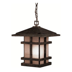 KICHLER - KICHLER 9829AGZ Cross Creek Arts and Crafts/Mission Outdoor Hanging Light - With rustic charm as unique as its design, The Cross Creek Collection puts a modern spin on a classic fixture. Each piece is constructed from long lasting cast aluminum ensuring a quality fit and finish that will last for ages. Our Aged Bronze finish adds a distressed appearance to the piece, while Textured linen seedy glass panels additional warmth make the Cross Creek Collection the perfect balance of ambiance, style, and value. This one light outdoor hanging lantern from the Cross Creek Collection uses 150-watt (max.) bulbs and is U.L. listed for damp location.For additional chain order KCH-4927-AGZ