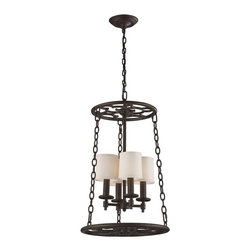 ELK Lighting - ELK Lighting Ironton 65116-4 Pendelier - 18W in. - Vintage Rust - 65116-4 - Shop for Pendants from Hayneedle.com! Create a focal point for any living space with the rustic appeal of the ELK Lighting Ironton 65116-4 Pendelier in Vintage Rust. Its rounded accent pieces and chain hangers provide the ideal framework for the four internal lamps to shine - each with a 60-watt bulb (not included) and a shade of natural canvas. The individual lamps are showcased on a central crossbar that inspires a timeless look. A center hanging chain meets the base and are both adorned in a vintage rust finish that brings out the classic look of this beautiful piece.About E.L.K. LightingIn 1983 Adolf Ebenstein Jonathan Lesko and Russell King combined their lighting expertise to form E.L.K. Lighting Inc. From the company's beginning in eastern Pennsylvania it has become a worldwide leader featuring manufacturing facilities and showrooms in the U.S. and abroad. Award-winning designs and state-of-the-art engineering give their lighting and home decor items outstanding quality and value and has made E.L.K. the choice of such renowned places as the Historic Royal Palaces of England and George Vanderbilt's Biltmore Estates. Whether a unique custom design or one of their designer lines all products are supported by highly trained technical and customer service teams. A commitment to providing superior lighting and home products with unmatched customer satisfaction remains at the heart of the E.L.K. family tradition.Please note this product does not ship to Pennsylvania.